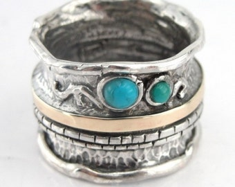 Tirquoise Silver Band, Silver And Gold Ring, Turquoise Ring, Fine Silver Gold Turquoise band size 8, Wedding Ring, Green Stone Ring (s r1306