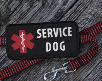 SERVICE DOG Medical Alert Symbol on Black Rectangle 2 Patch Velcro Double Sided Leash Wrap (Choose size with or without clip accessory)