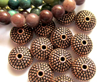 24 Round Copper beads spacers focal beads jewelry supply 8mm x 4mm HP-(W5)