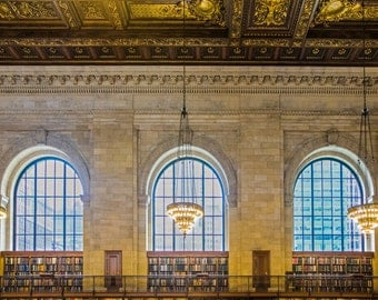 New York Library Photo, Nyc Photograph Architecture Literature Books For Readers Main Reading Room Wall Art nyc69