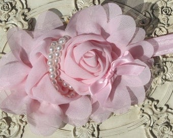 Pink headband for toddlers   baby headband, baby headband, flower girl headband, vintage lace headband, rosette headband, shabby