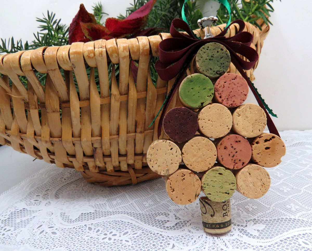 Wine Cork Christmas Tree Ornament by GoldenVineDesigns on Etsy