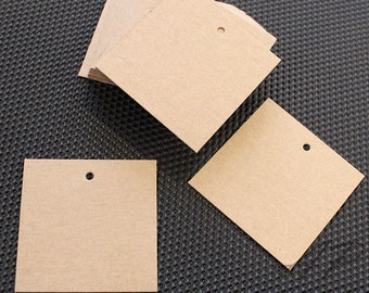 "100 pcs of Blank Design Brown Kraft Card Hang Tag for Accessories, Garment(clothing) and Jewelry 50mm X 50mm(2""X2"")"