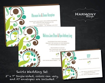 "5"" x 7"" Swirls Wedding Ensemble, Single-Sided, with matching Menus, Programs, and Table Number cards"