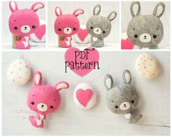 PDF. Rabbits and easter egg garland