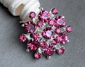 5 Rhinestone Button Embellishment Rose Pink Crystal Bridal Hair Comb Wedding Brooch Bouquet Invitation Cake oDecoration BT200