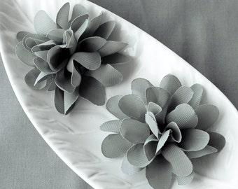 6 Grey Chiffon Flower Rose Soft Chiffon Fabric Silk Flowers Bridal Wedding Garter Baby Hair Comb Headband Shoe Clip Pin SF113