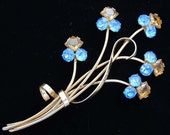 Art Deco gold STERLING Vermeil Amber and Blue Rhinestone Floral Brooch / Art Deco Floral Brooch / Floral Rhinestone Brooch