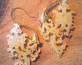 Gold Earrings Paisley
