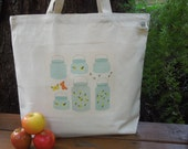 Natural cotton market tote - Mason jars and fireflies
