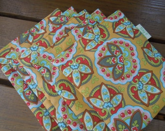 PRICE REDUCED * Reusable sandwich and/or snack bags on sale - Sandwich bag sets - Cotton reusable snack bags -  Lotus star paisley