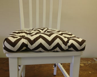Set of 2, 4, 6, 8 tufted chair pads, seat cushions, bar stool cushions, Village brown on natural chevron zig zag
