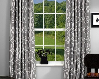 "TWO 50""W designer curtain panels, drapes, Dwell studio bella porte, charcoal grey"