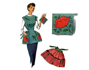 1950s Cobbler's Apron Pattern Poppy Cover All or Half Apron and Potholder Simplicity 4492 Vintage Sewing Pattern With Transfer Size Small