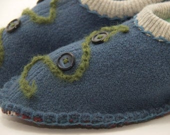 unisex upcycled wool sweater slippers blue with buttons