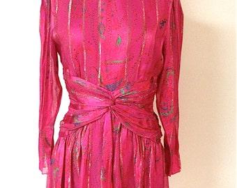 20% Off SALE Coupon Code FAVORITE20 Vintage 1970s Silk Metallic Morton Myles Dress