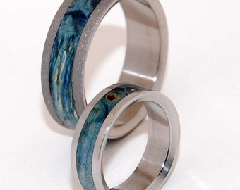 wedding rings, titanium rings, wood rings, mens rings, womens ,Titanium Wedding Bands, Eco-Friendly Rings - Sandblasted STARRY STARRY NIGHT
