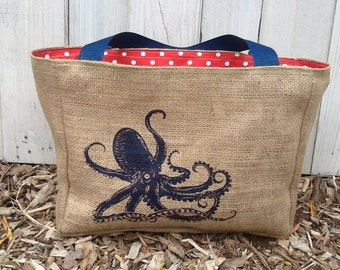 Eco-Friendly Navy Octopus Market Tote Bag, Handmade from a Recycled Coffee Sack