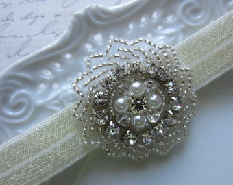 Satin Elastic Headband with Rhinestone and Pearl Embellishment