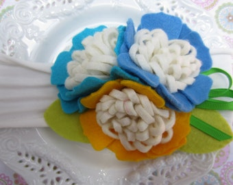 Cotton Stretch Headband with Felt Cluster Flowers