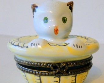French CAT in Basket French Connection TRINKET Box France Hand Painted