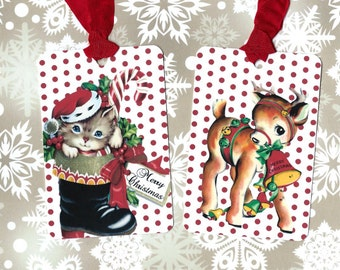 Gift Tags, Christmas Tags,  Kitten & Reindeer, Retro Vintage Style