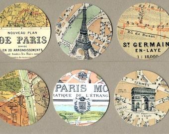 Sticker Seals Vintage Style French Paris Map II