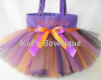 Monogrammed Purple Orange Black Sequins Tutu Tote Bag - Halloween Trick or Treat Bag