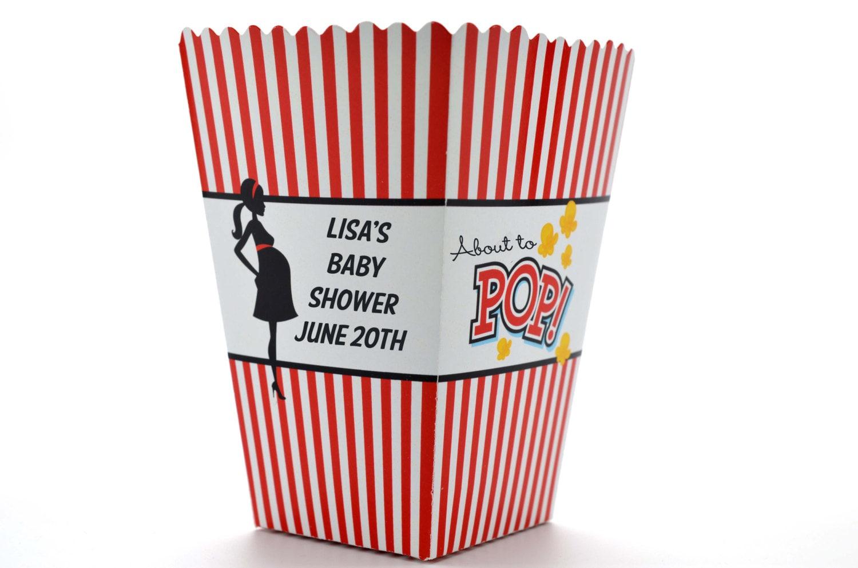 Ready to pop personalized custom baby shower popcorn boxes for Ready to pop popcorn boxes