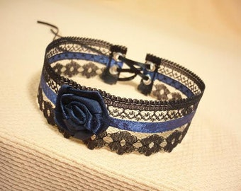 Romantic Lace Choker  Black and Navy Blue, Baroque Necklace Gothic, Renaissance Neck Piece ,Baroque, Goth Wedding Collar, Victorian Jewelry