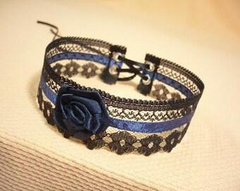 Romantic Lace Choker  Black Navy Blue Halloween Baroque Necklace Gothic Renaissance Neck Piece Baroque Goth Wedding Collar Victorian Jewelry