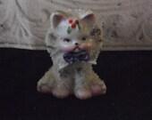 Grumpy Christmas Cat Sugar Kitten Figurine - 1940s/ 50s
