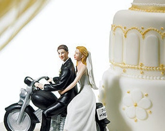 """Motorcycle """"Get-away"""" Bride and Groom Wedding Cake Topper- Romantic Porcelain Hand Painted Figurines"""