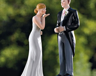 Groom In Traditional Morning Suit and Bride blowing Kisses Wedding Cake Toppers Romantic Porcelain Mix Or Match Figurines