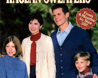 Complete Book of Raglan Sweaters to Knit Seamed Seamless Styles Whole Family Men Women Child 6 Months to Size 50 Craft Pattern Leaflet 2996