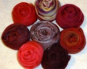 Merino Wool Roving - Silk Roving Felting Spinning Fiber Kit - Blending Board Roving - Red - Strawberry Fields Forever