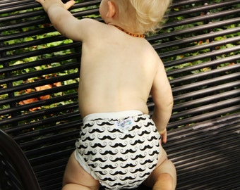 Mustaches Cloth Diaper Cover-PATENT PENDING One Size Design Fits Newborn to Toddler- Use With Our AI2 Inserts, Fitteds or Prefolds