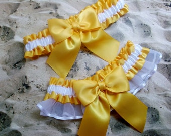 Yellow Gold Freesia Satin White Satin Organza Wedding Bridal Garter Toss Set