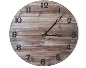 "10"" or 12 "" Rustic Wall Clock, SILENT Wall Clock, Faux Reclaimed Wood Clock, Rustic Home Decor, Rustic Wall Decor, Unique Wall Clock - 1967"