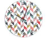 Chevron Wall Clock, 12 Inch Large Wall Clock, Unique Wall Clock, Home Decor, Wall Decor, Wall Hanging, Dorm Room Decor - No. 1197