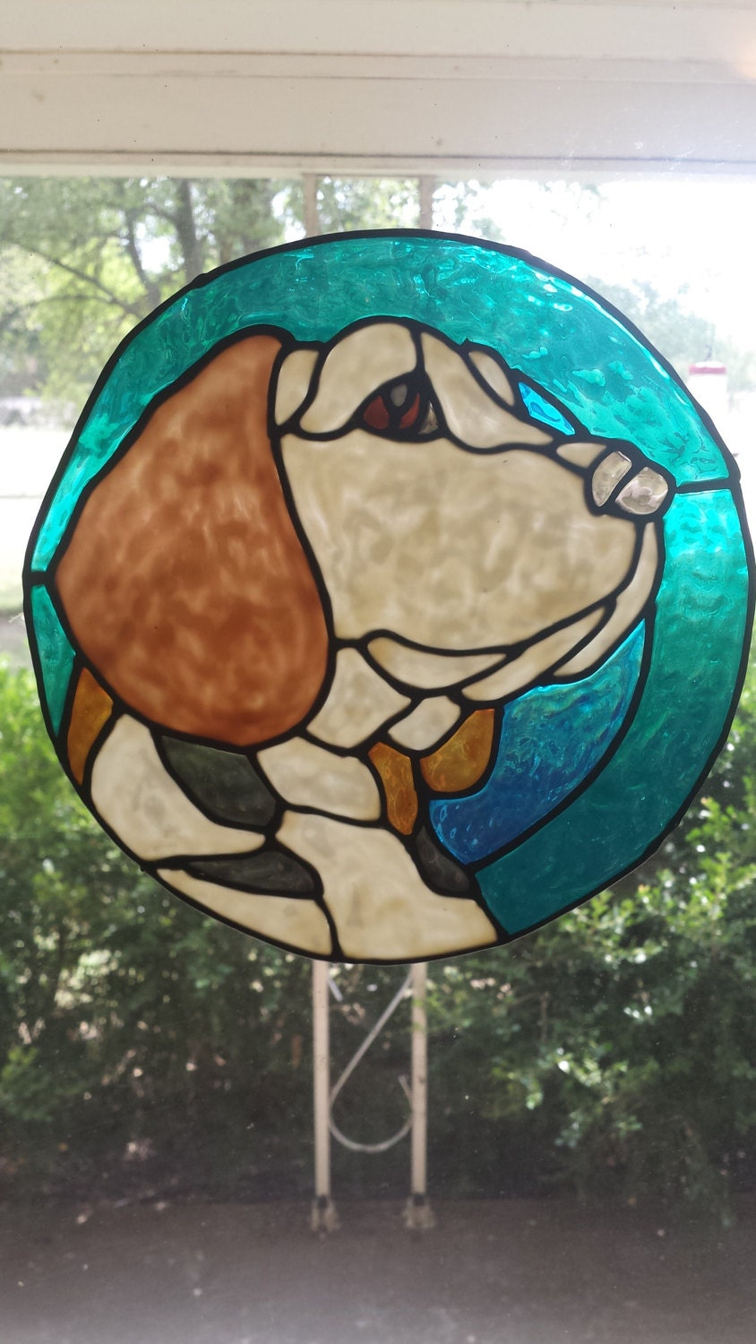 Beagle Dog Stained Glass Window Cling 8 X 8 Inches