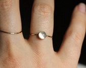 Delicate 14k Gold Moonstone Stack Ring - Moon on a Golden Thread - Simple Beautiful Solid 14K Gold White Moonstone Stacking Ring