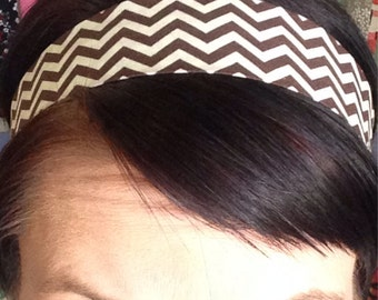 Brown and Cream Chevron - Stay Put Headband