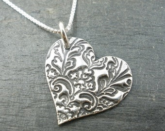 Embossed Heart Pure Silver necklace  - Metal Clay Jewelry