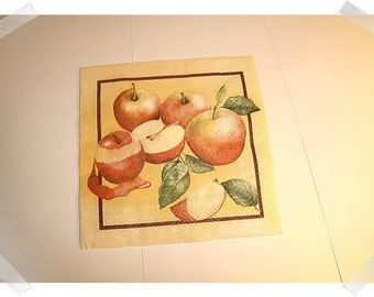 Paper Napkins for Decoupage/Single OR Set of 3 OR Set of 6 /Apple Print/ Craft Supplies**