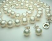 White Pearl Necklace -AA 8-9mm 18 inches White Freshwater Pearl Necklace- Free Matching Earring