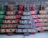 For Unto Us a Child is Born Custom Rustic Christmas Tree Wall Yard Decor
