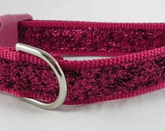 Hot Pink Metallic Sparkle Dog Collar