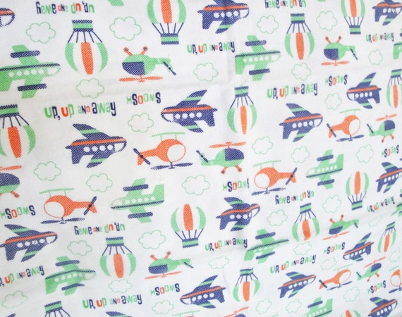 Airplane flannel fabric helicopter hot air balloon white for Airplane fabric by the yard