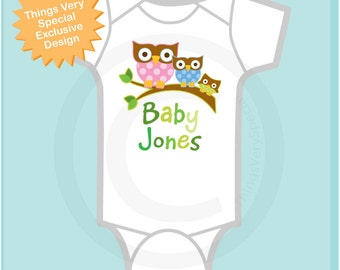 Personalized Neutral The Baby Onesie or Tee Shirt with three owls on a branch (02112014a)